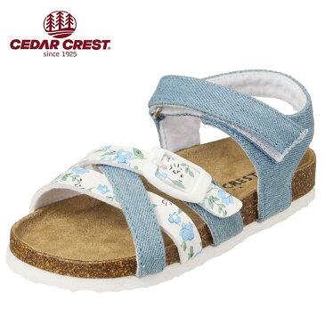 セダークレスト CEDAR CREST サンダル CC-3065 キッズ靴 靴 シューズ 2E相当 コンフォートサンダル 子供 女の子 フラット アンクルストラップ かわいい おしゃれ サックス