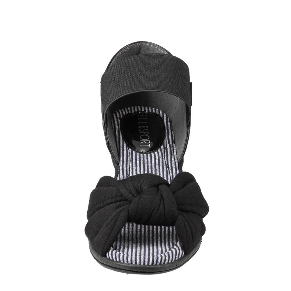 エル スポーツ ELLE SPORT サンダル ESP11587 レディース靴 靴 シューズ 2E相当 ウェッジソールサンダル 軽量 ゴムベルト 2WAY かかと踏める 小さいサイズ対応 22.5cm ブラック