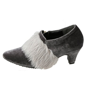 [スーパーSALE中ポイント5倍]チャーミーキャンディ CHARMY CANDY ブーツ CJ-027 キッズ 靴 靴 シューズ 2E相当 ブーティ ポインテッドトゥ ショートブーツ ファー ハイヒール 美脚 サイドファスナー 履きやすい かわいい おしゃれ グレー