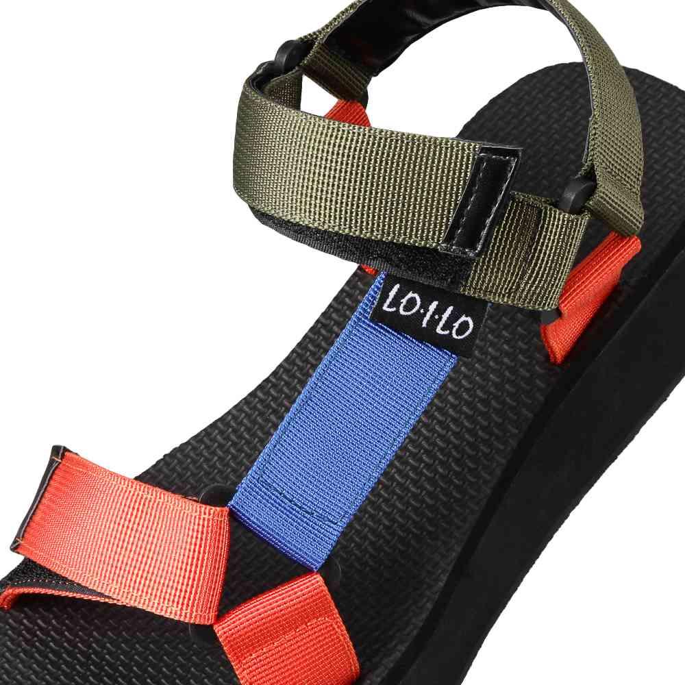 ロイロ LOILO 9316 レディース靴 E相当 レディーススポーツサンダル 面ファスナー 着脱テープ 厚底 小さいサイズ対応 大きいサイズ対応 オレンジコンビ