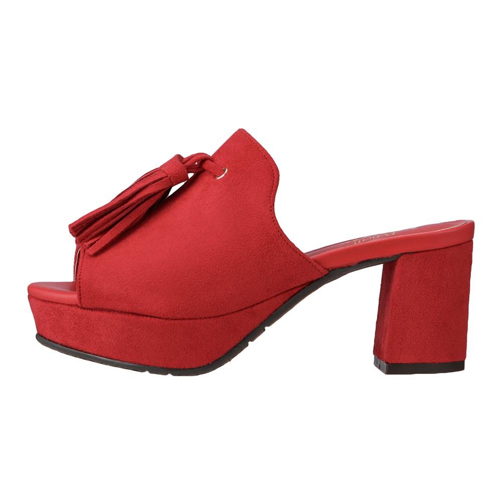 プティームデュラス Petiem Duras PD6601 レディース靴 2E相当 タッセル付きミュール 太めヒール 民族コーデ 小さいサイズ対応 大きいサイズ対応 レッド