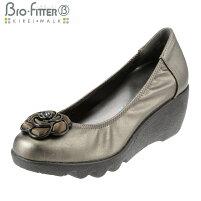 [バイオフィッターキレイウォーク]BioFitterBFL-8008レディース|ウェッジソールパンプス|ラウンドトゥローヒール|美脚軽量防臭|フラワーモチーフシャーリング|スチール