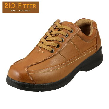 バイオフィッター カジュアルシューズ Bio Fitter ベーシックフォーメン BF-2907 メンズ靴 靴 シューズ 4E コンフォートシューズ ローカット レースアップ 防臭 軽量 幅広 衝撃吸収 紳士靴 革靴 通勤 仕事 大きいサイズ 対応 28.0cm キャメル