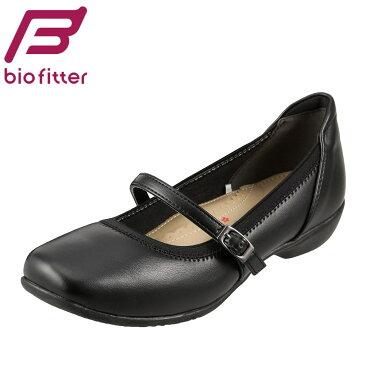 パンプス Bio Fitter キレイウォーク BFL-13100 レディース靴 靴 シューズ ストラップパンプス ローヒール スクウェアトゥ 黒 つま先 歩きやすい やわらかい 大きいサイズ対応 25.0cm 25.5cm 26.0cm ブラック