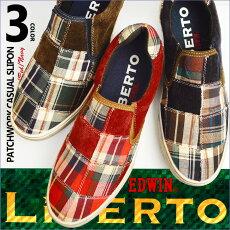 LiBERTO-EDWIN-リベルトエドウィンスニーカーメンズスニーカースリッポンメンズ靴カジュアルシューズ大人チェック柄キャンバスパッチワーク