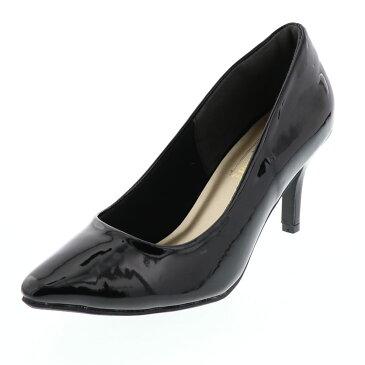 レディース パンプス ポインテッド ヒール7cm 美脚 脱げにくい靴屋さんの本気パンプス プルミエールコスメ 255-54240 ブラックエナメル