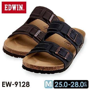 メンズ EDWIN エドウィン EW-9128 フットベット サンダルダークブラウン ブラック 黒 茶色
