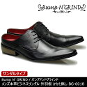 BumpN'GRINDバンプアンドグラインドメンズMENS本革ビジネスサンダルビジネスロングノーズ靴くつシューズ革靴サンダル紳士靴黒ブラックBG-6018【送料無料】