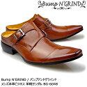 BumpN'GRINDバンプアンドグラインドメンズMENS本革ビジネスサンダルビジネスロングノーズ靴くつシューズ革靴ダブルモンクサンダル紳士靴