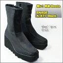 期間限定 送料無料! 波なみ 厚底ソール ブーツ WAVA ウェーブ ソール ENAGE K-471 ブラック Heel :約8cm ショートブーツ EVA かる?い 軽量ソール Bootsエナージュ ブーツ
