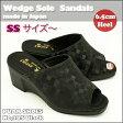 【PUAR SHOES】日本製 厚底 サンダルNo,285 黒 ウェッジソール サンダル普段履き オフィスサンダル 事務所履きに!ウェッジサンダル (21cm ~ 21.5cm) SS サイズ〜小さいサイズ の方にも好評!