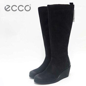 ECCO エコー 282513 ブラック(レディース)ヌバックレザー ウェッジヒール ロングブーツECCO BELLA WEDGE High cut zip「靴」
