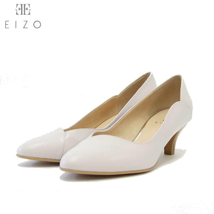 EIZO エイゾー 15146 アイスグレー スムースレザーのVカットラウンドパンプス(5.5cmヒール) 「靴」