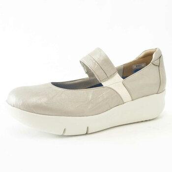 FIZZREENフィズリーン9304プラチナ(レディース)快適EEE厚底ウェッジシューズソフトな天然皮革で優しくフィット「靴」
