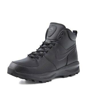 ナイキ ハイカット スニーカー ブーツ メンズ マノアレザー 通気性 クッション性 撥水 雨 雪 靴 カジュアル デイリー トラベル アウトドア MANOA LEATHER NIKE 454350 ブラック/ブラック/ブラック