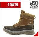 エドウィン ウィンターブーツ ビーンブーツ メンズ レインブーツ 長靴 レースアップ あったか 保温 クッション性 防水 防滑 雨 雪 靴 カジュアル デイリー トラベル レジャー アウトドア EDWIN EDM-9906 ブラウン