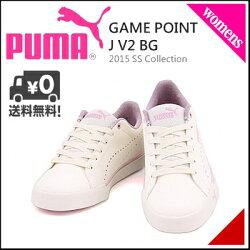 プーマレディースオールラウンドローカットスニーカーゲームポイントJV2BGPUMAGAMEPOINTJV2BG360416ホワイト/ブルー/ピンクレディー