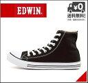 エドウィン ハイカットスニーカー メンズ キャンバス オールシーズン カジュアル デイリー トラベル ウォーキング ストリート EDWIN EDS-1620 ブラック