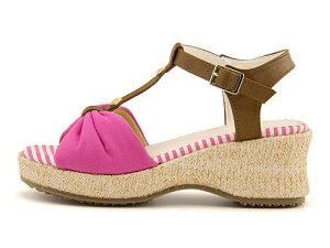 サンダル ウェッジソール 歩きやすい Tストラップ 疲れない 女の子 キッズ 子供靴 運動靴 通学靴 リボン付き カジュアル デイリー トラベル リゾート リップザスウェル Rip the Swell 852044 ピン