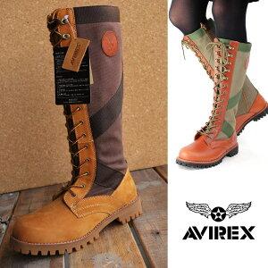 AVIREX 送料無料 MARY JANE アビレックス ブーツ レディース メリージェーン ジャングルブーツ 正規品 アヴィレックス 本革×キャンバス レザー AV3008
