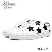 スニーカーメンズブランド本革レザーシューズ靴メンズHonourOvationアナーオベーションホワイト白ブラック黒3030REY_KO181120