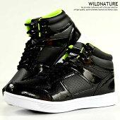 スニーカーメンズミッドカットブーツシューズ靴メンズ軽量WILDNATUREブラック黒7070Y_KO181116-2