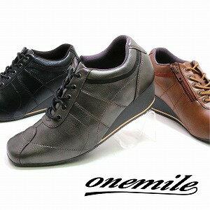 【ワンマイル】OnemileレディースウエッジスニーカーOM-337軽量フラット紐靴