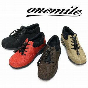 【ワンマイル】Onemileレディース防水スニーカー OM-861 軽量 黒 紐靴