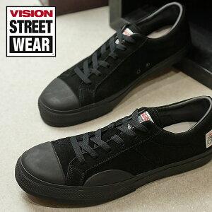 【即納】VISION STREET WEAR ヴィジョン ストリートウェア メンズ スニーカー 靴 SUEDE LO ビジョン スケートシューズ スエード ローカット ブラック (VSW-7352)【コンビニ受取対応商品】