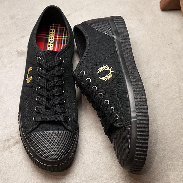 メンズ靴, スニーカー  FRED PERRY HUGHES LOW CANVAS B8108-157 FW20 BLACKCHAMPAGNE