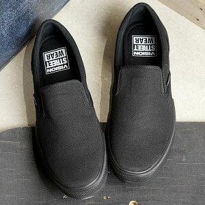 【コラボ】ヴィジョン ストリートウェアVISION STREET WEAR キャンパス スリップオン CANVAS SLIP ON メンズ レディース ビジョン スリッポンスニーカー 靴 BLK/BLK ブラック系 (VSW-8151 SS19)