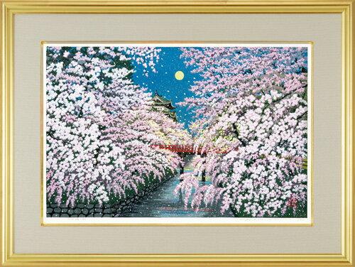 井堂雅夫 木版画『弘前城の桜』