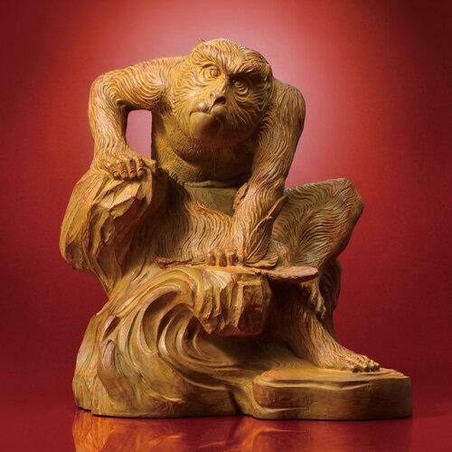 『老猿』黒檀調台座つき