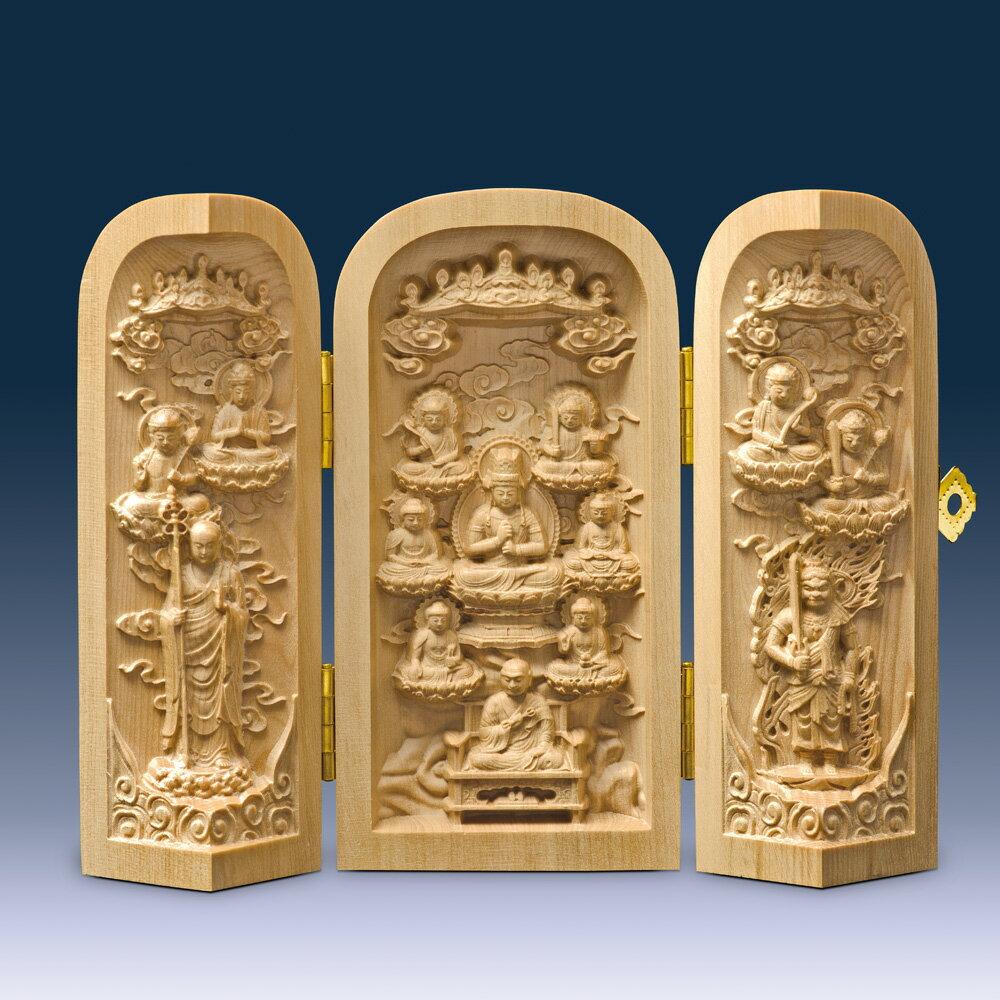 何勝益 黄楊 枕本尊『十三仏 仏龕』金襴袋つき