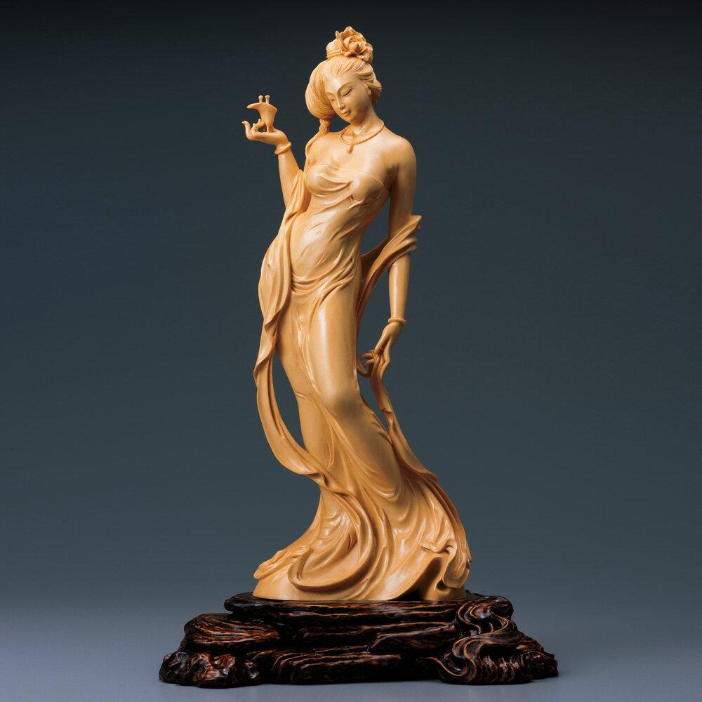 葉小鵬一木彫り細密彫刻檜『楊貴妃〜酔牡丹』