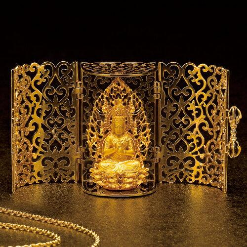 サヤン 純金『懐中大日如来 完全黄金仕様』【仏像・ペンダント・根付】【通販・販売】