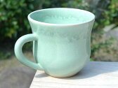京焼 清水焼 ガラス織部マグカップ