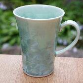 京焼 清水焼 花結晶マグカップ 緑 陶あん