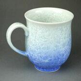 京焼 清水焼 花結晶マグカップ 白地青