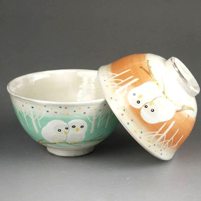 松韻堂『白ふくろう夫婦茶碗花月』