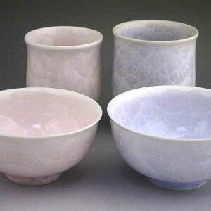 京焼 清水焼 花結晶夫婦湯呑と夫婦茶碗セット 紫ピンク 陶あん