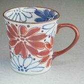 京焼 清水焼 花はなマグカップ 赤 陶遊