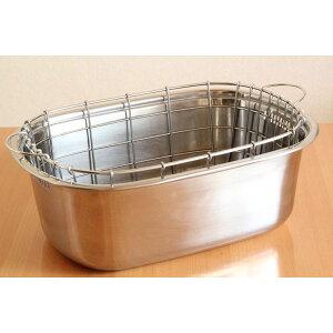 18-8ステンレス、日本製の高品質!小判型洗桶、水切りかごセット