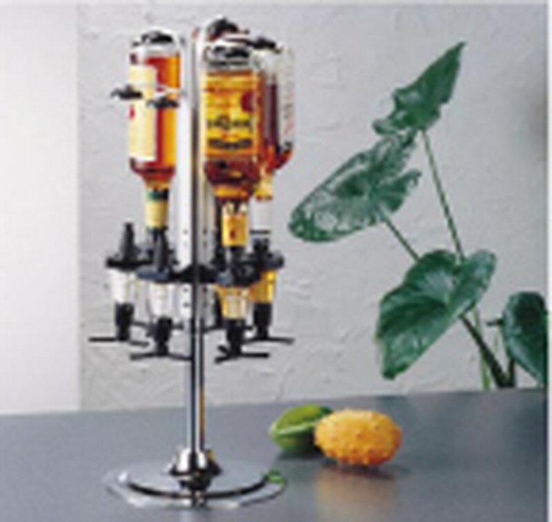 [TKG16-1719] ビューモント ウィスキーメジャースタンド ロータリー式 6本立 1oz黒:業務用食器の食器プロ H&K館