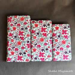 iPhone6sPlusケース・手帳型:リバティ・マーガレットアニー(オレンジ&ピンク)おしゃれかわいいiPhone6Plus,iPhone6sPlus