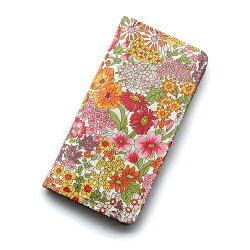 iPhoneケース・手帳型(iPhone5/5S):リバティ・マーガレットアニー(オレンジ&ピンク)