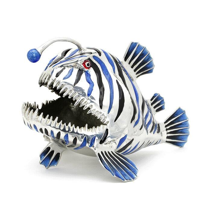 ロイファー LOYFAR カードホルダー アングラーフィッシュ (ブルー×シルバー) CARD HOLDER ANGLER FISH BLUE CH044.C カード立て オブジェ 魚 アンコウ 鮟鱇 青