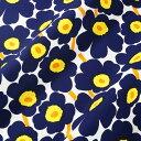 マリメッコ marimekko ファブリック生地 ミニウニッコ (002 ホワイト×ネイビー×イエロー) 10cm単位カット販売 066475 002 Cotton fabric MINI UNIKKO マリメッコ生地