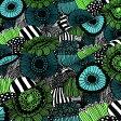 マリメッコ marimekko ファブリック生地 ピエニシイルトラプータルハ (160 ホワイト×グリーン×ブラック) 10cm単位カット販売 067914 160 Cotton fabric Pieni siirtolapuutarha