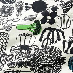 マリメッコ marimekko ファブリック生地 プータルフリン パルハート (960 ホワイト×ブラック×グリーン) 10cm単位カット販売 063310 960 Cotton fabric PUUTARHURIN PARHAAT P19Jul15